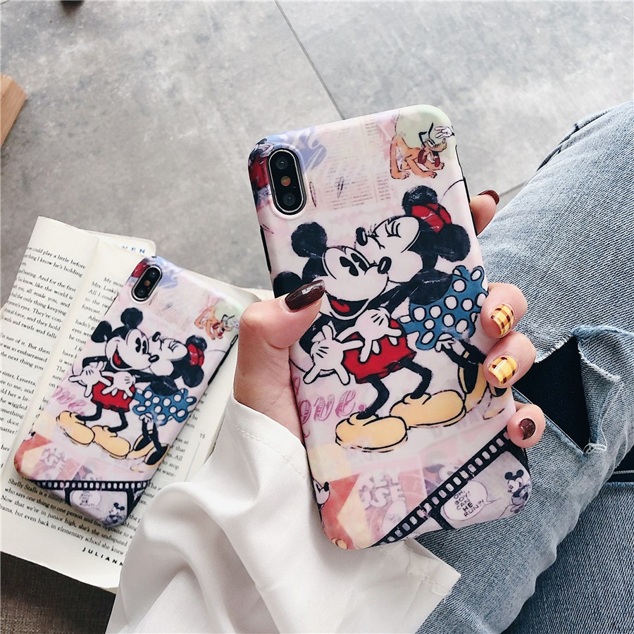 Image # 1 of Review เคสไอโฟน iPhone X XS Max XR iPhone 7 8 Plus iPhone 6 6S Plus Cartoon Mickey & Minnie Matte Soft Case