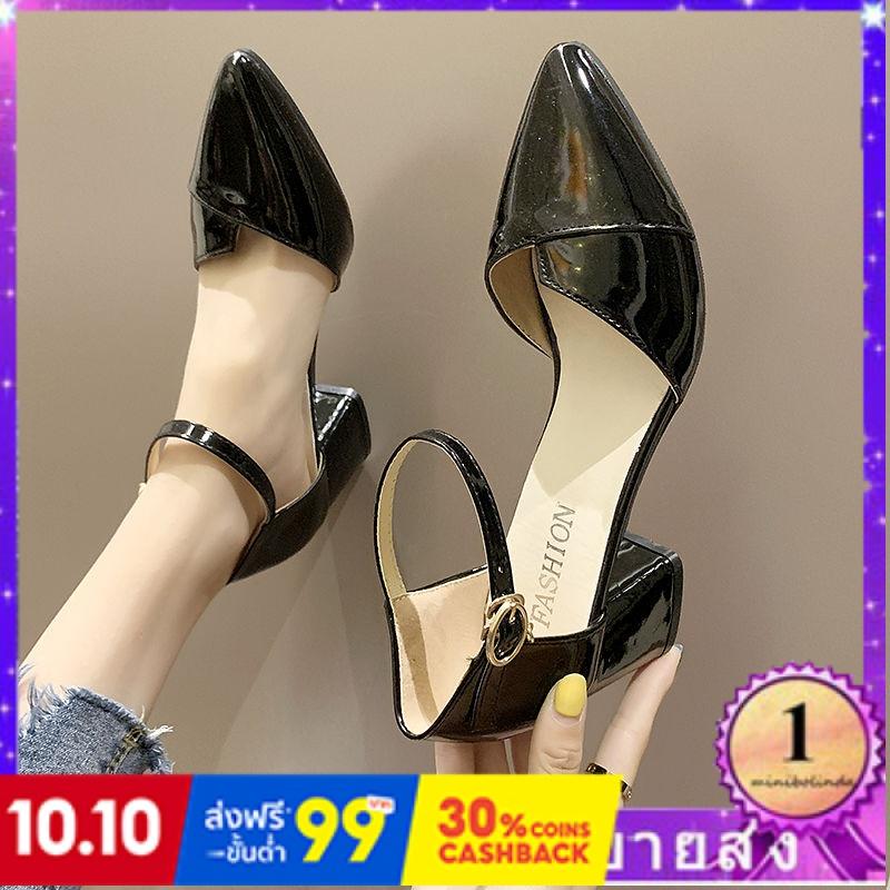 ⭐👠รองเท้าส้นสูง หัวแหลม ส้นเข็ม ใส่สบาย New Fshion รองเท้าคัชชูหัวแหลม  รองเท้าแฟชั่นรองเท้าผู้หญิงรองเท้าส้นสูงหนากับรอ