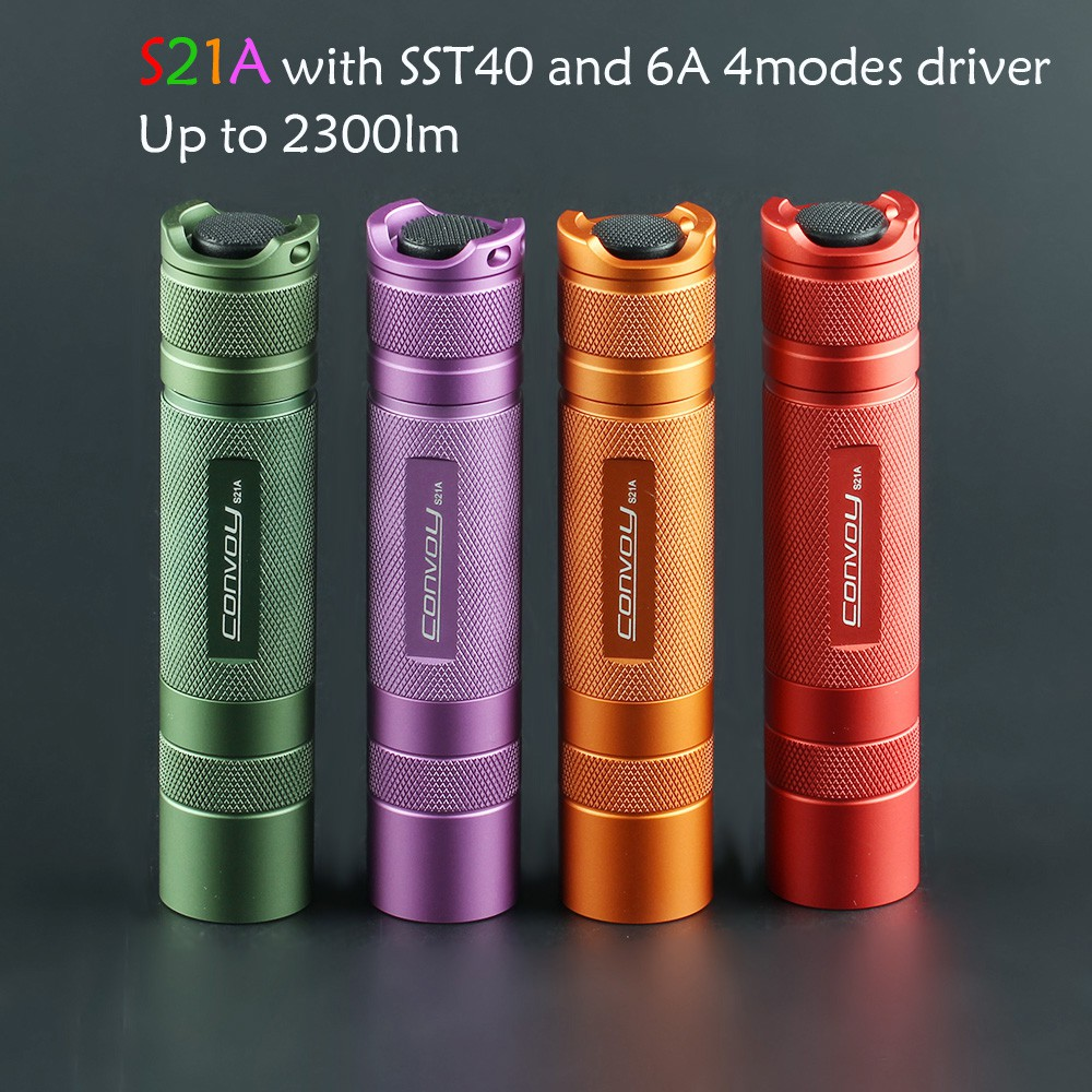 Flashlight Torch Convoy S21A with SST40 S2+ Plus 21700 Version Flash Light Green Purple Orange Red Camping Fishing Lante
