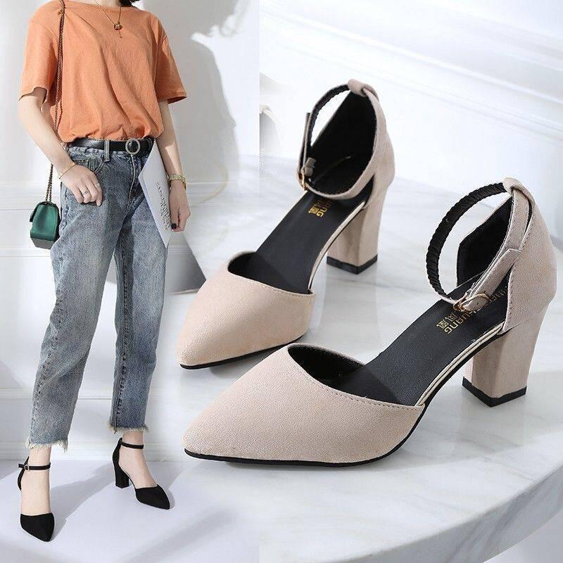 รองเท้าคัชชู รองเท้าสีแดงสุทธิรองเท้าผู้หญิงส้นสูงของเด็กผู้หญิงหนากับฤดูใบไม้ผลิ 2019 และฤดูร้อนเวอร์ชั่นเกาหลีใหม่ของก