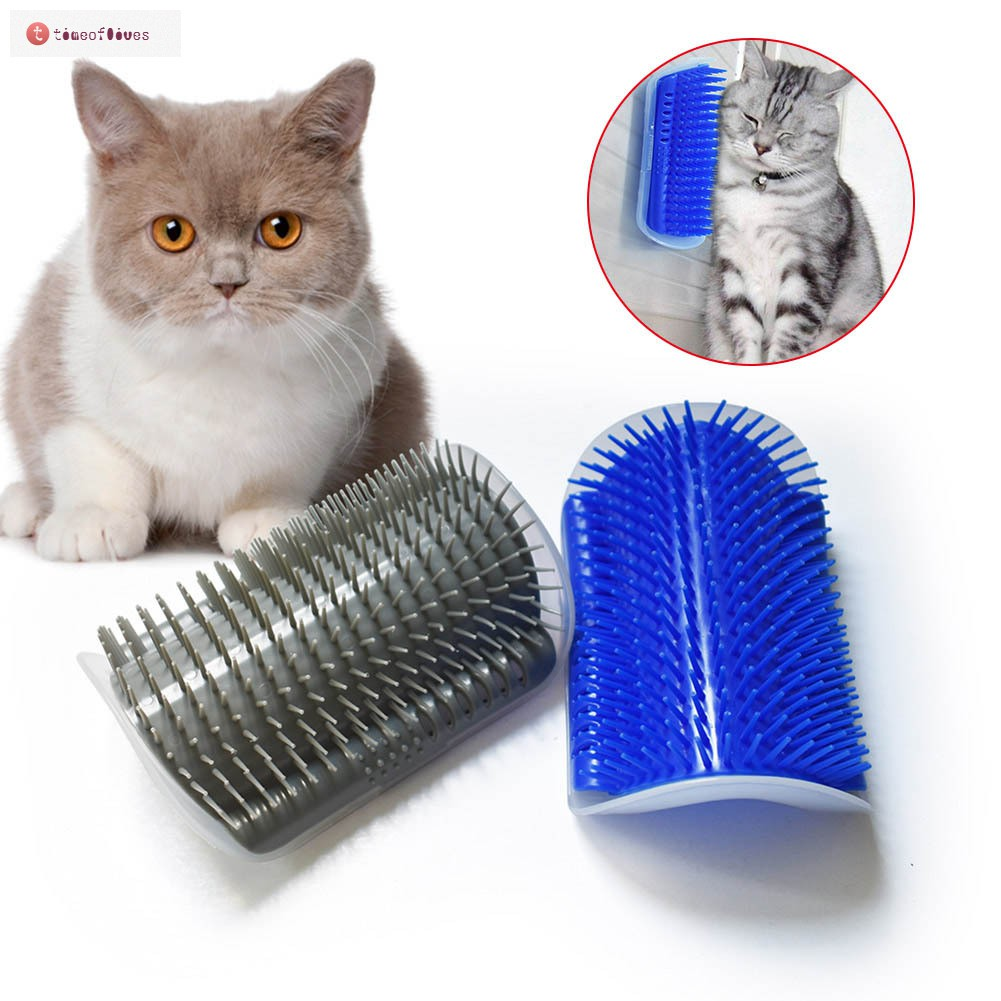 TF▶ Cat Massage Brush Comb Wall Corner Self Groomer Grooming Kitten  Supplies Durable Toy