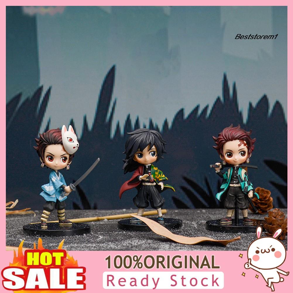 Best_3Pcs Demon Slayer Nezuko Kimetsu Action Figure Model Table Decor Toy Collection