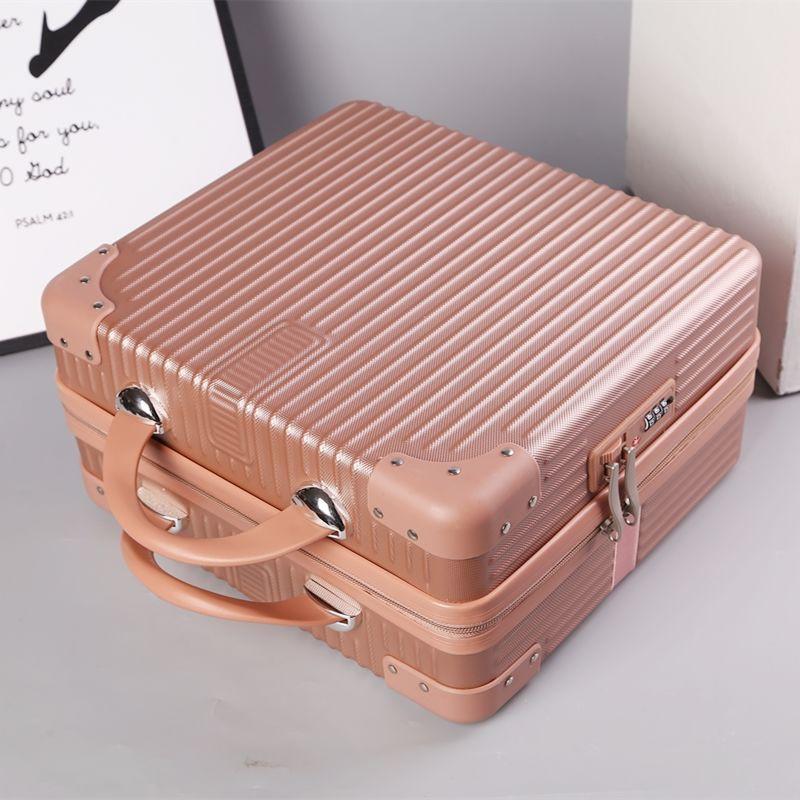 ❃❀☬กระเป๋าเดินทางย้อนยุคกระเป๋าเดินทางใบเล็กผู้หญิง 14 นิ้วกล่องใส่เครื่องสำอางรหัสผ่าน 16 นิ้วกระเป๋าเก็บขนาดเล็กน้ำหน