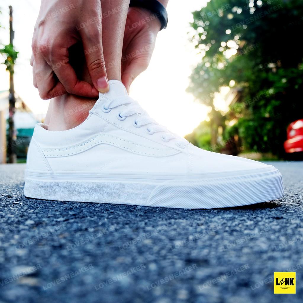 Vans Old Skool All White งานพรีเมี่ยม, รองเท้าแวนสีขาวล้วน