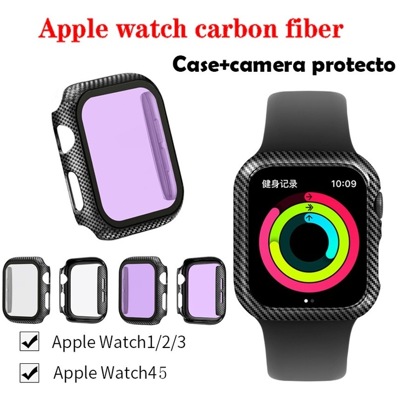 Apple Watch Series SE 6 5 4 3 2 1 360-degree tempered glass protective case Iwatch frame carbon fiber case 38MM 42MM 40MM 44MM iPhone Watch camera protection sticker glass cover bumper