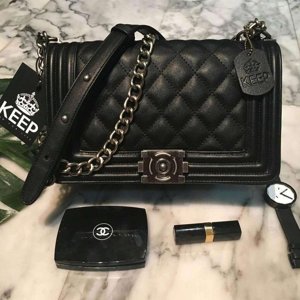 💎กระเป๋า Keep ทรง chanel boy รุ่น KEEP shoulder Luxury Quited bag 💎