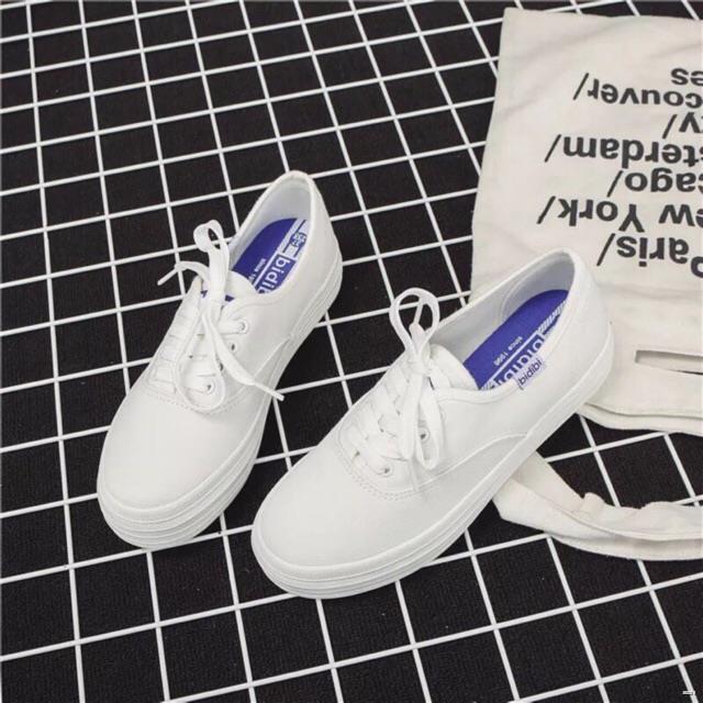 ยางยืดออกกําลังกาย✺♞✠รองเท้าผ้าใบขาวล้วน 124 white bidibi [สินค้าพร้อมส่ง]