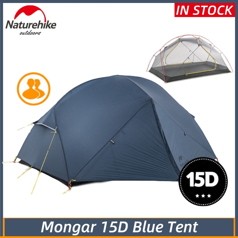 please COD NatureHike Mongar 15D Blue Camping Tent 2 Persons Ultralight 15D Nylon Aluminum Alloy Pole Double Layer Outdo