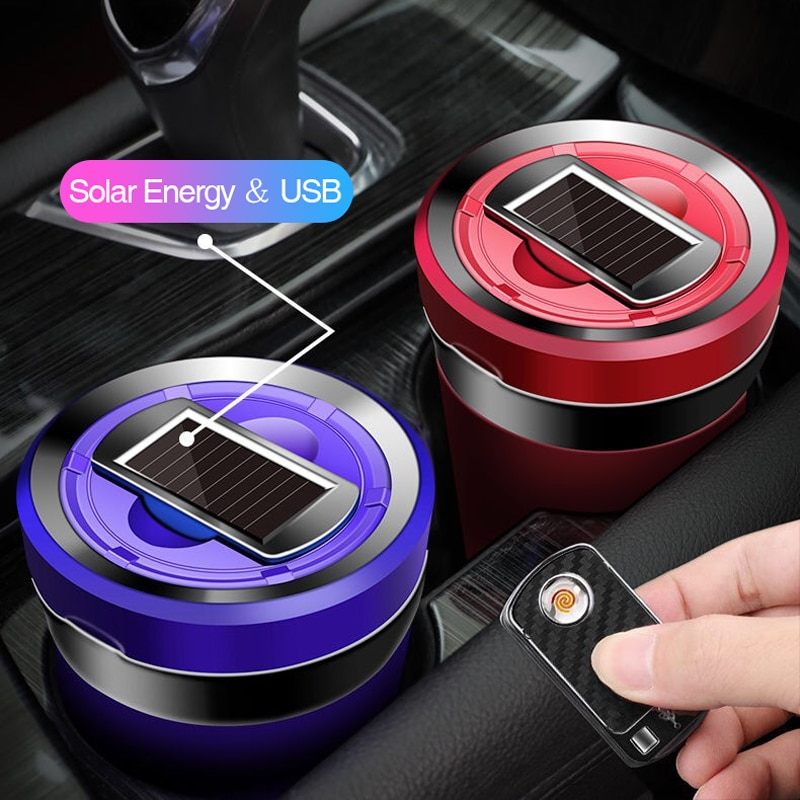 Auto Ashtray Rechargeable Solar Energy LED Car Ashtray Removable Cigarette Lighter Ashtray For Car Cup Holder Car Access