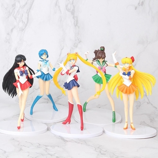 5pcs/set Anime Sailor Moon Action Figures Toys Mercury Jupiter Venus Figurines Collectable Models Kids Cartoon Doll Toy