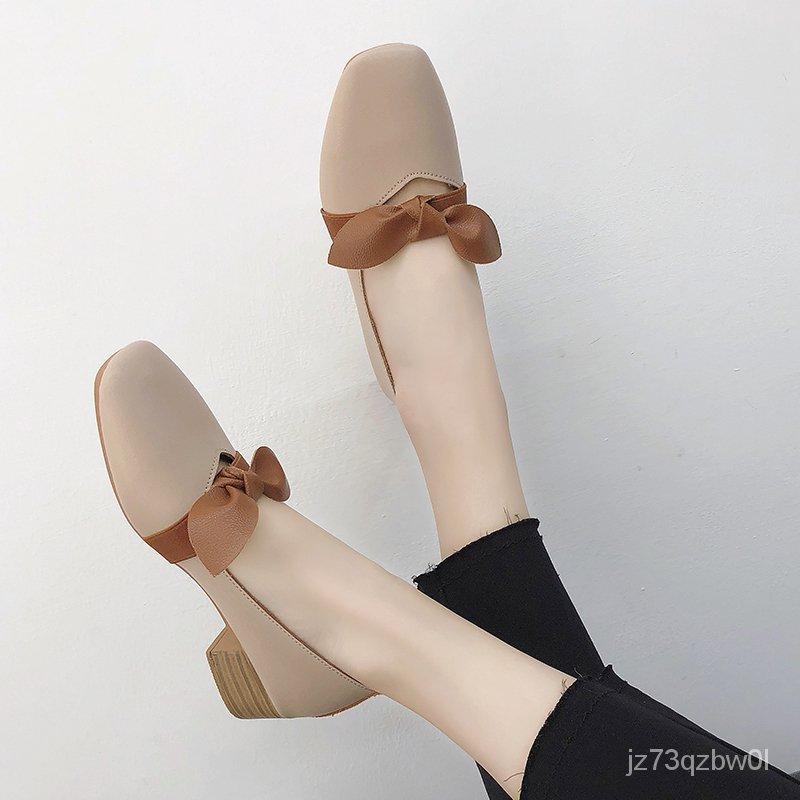 【รองเท้าแฟชั่นผู้หญิง】รองเท้าคัชชูผูกโบว์ มีส้นค่ะ สีดำ ครีม น้ำตาล พร้อมส่งค่ะ