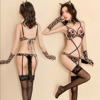 New Sexy Leopard-print Lingerie Set Cat Girl Role Play Cosplay Uniform Allure Erotic Bandage Underwear Three-point  Body