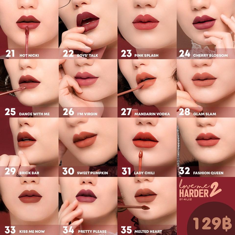 สูตรใหม่ พร้อมส่ง Liquid 2 Matte Lipstick ใหม่ ไม่ตกร่อง ลิควิดลิปแมท 4u2 Harder ทาแล้วไม่เป็นขุย Me Love