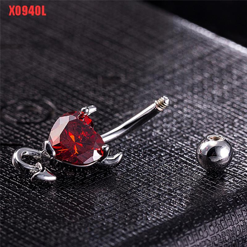 Navel Belly Button Ring Crystal Rhinestone Heart Spiral Devil Pierc Jewelry Nice