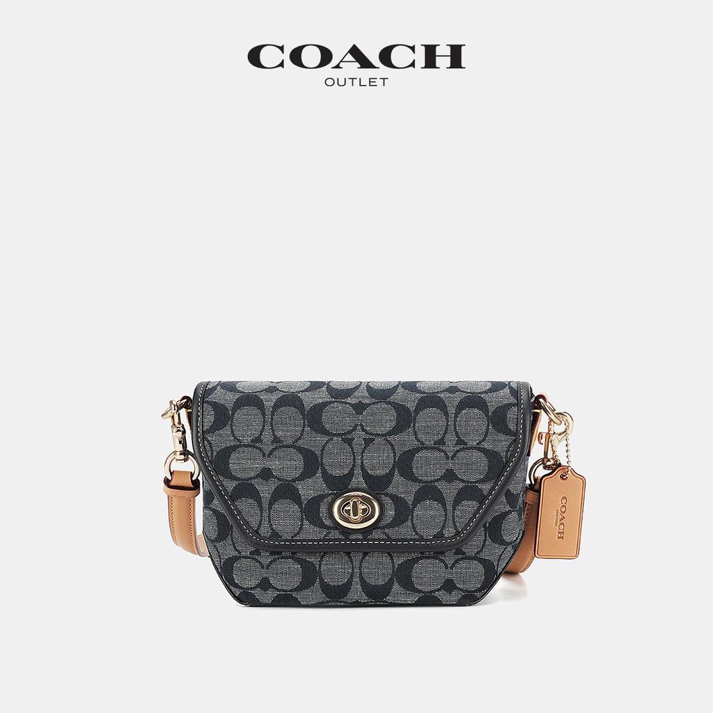 ✈✸Coach กระเป๋าผู้หญิงโลโก้คลาสสิก Chambray ผ้าทอลายเรียบ karlee กระเป๋าสะพายข้าง1
