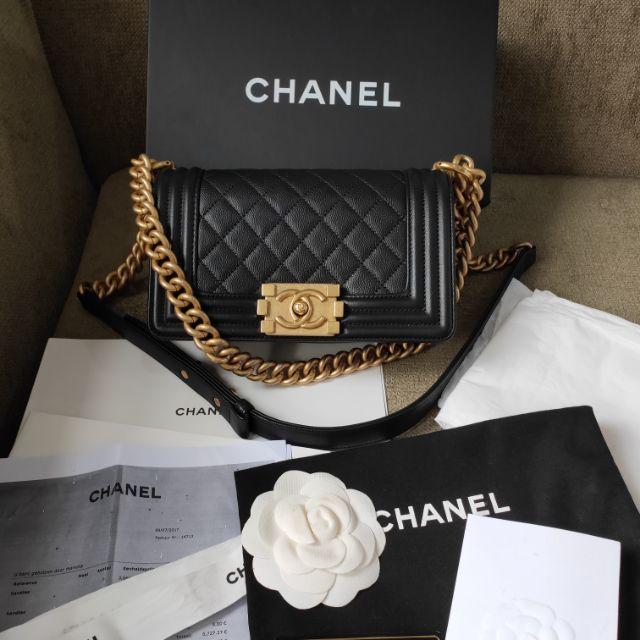 Chanel boy 8 คาร์เวียร holo24 โซ่เกลียว อะไรทอง ของแท้100%