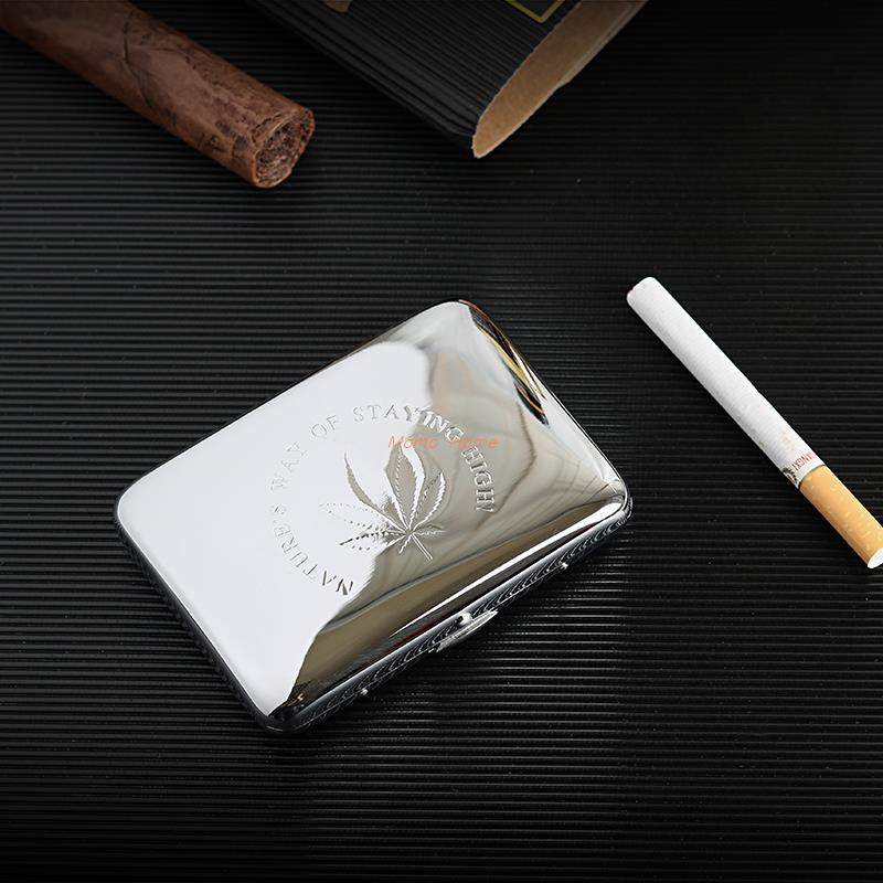 [MH]Thickened 304 stainless steel cigarette case 16 cigarette cases Portable ultra-thin metal cigarette holder smoking s