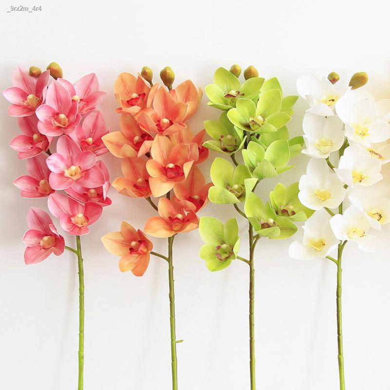 การจำลองพันธุ์ไม้อวบน้ำ❂กล้วยไม้เทียมดอกไม้ปลอม Cymbidium ห้องนั่งเล่น ห้องนอน ชั้น การจัดดอกไม้ ตกแต่งกระถางดอกไม้ประดั