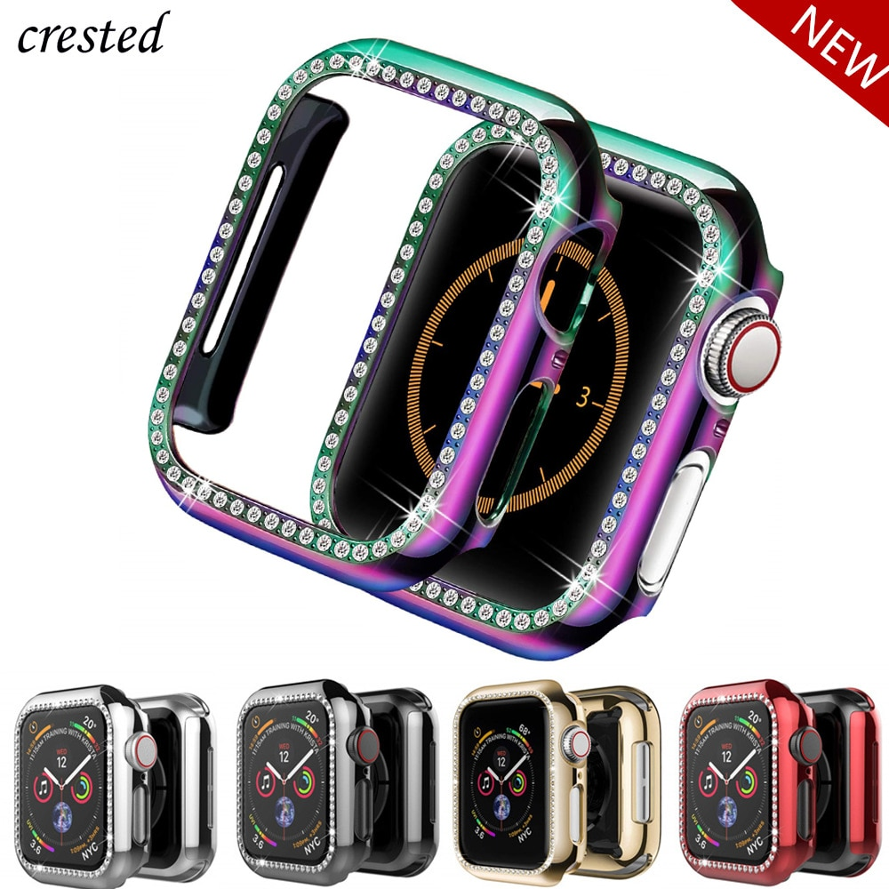 Bling Cover For Apple watch Case 44mm 40mm iWatch 42mm 38mm Diamond bumper Protector Apple watch series 6 5 4 3 2 SE Acc