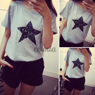 Review CELMIA Women Casual Summer Loose Stars Printed Short Sleeve Korean T-Shirt