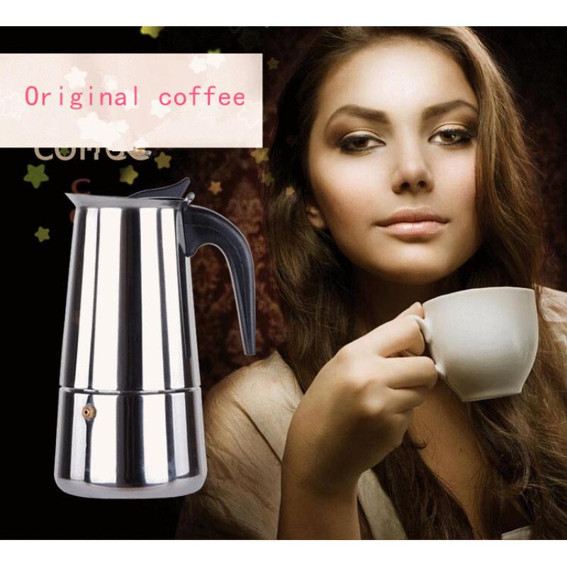 Oemgenuine moka pot stainless 9 cup สำหรับทำกาแฟสดรับประทานที่บ้าน สีเงิน 9 ถ้วย เครื่องชงกาแฟหม้อสแตนเลส