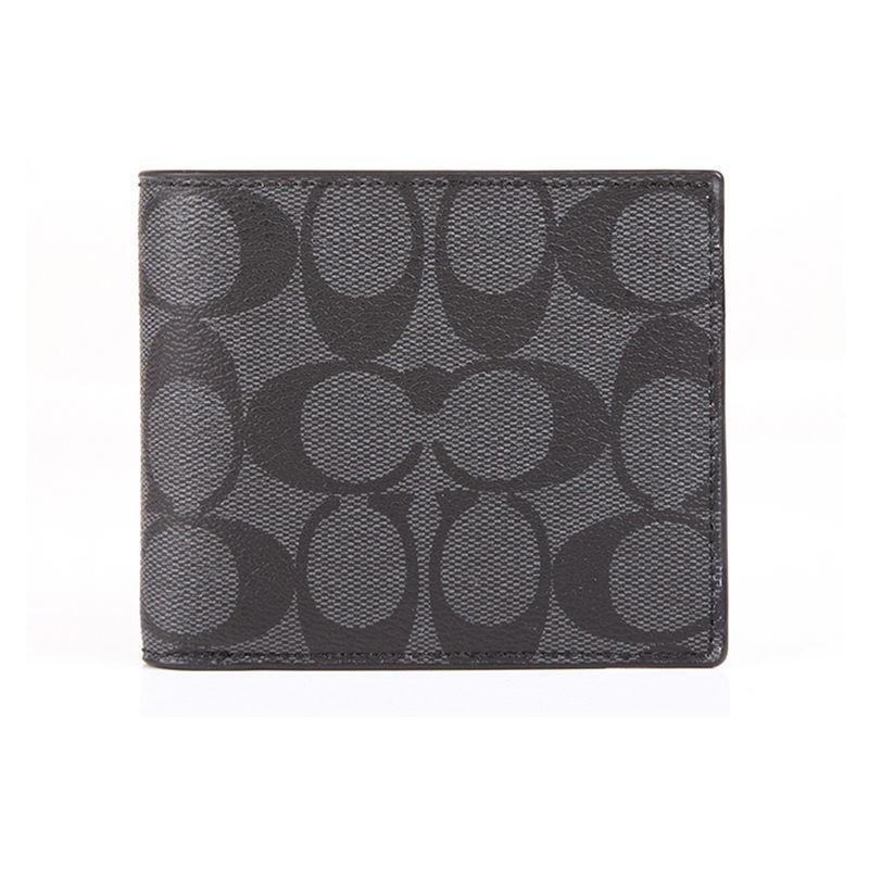 ☏⊕>COACH/COACH ของขวัญแฟนคลาสสิก กระเป๋าสตางค์ใบสั้นพิมพ์ลายโลโก้ผู้ชาย PVC หลายใบ