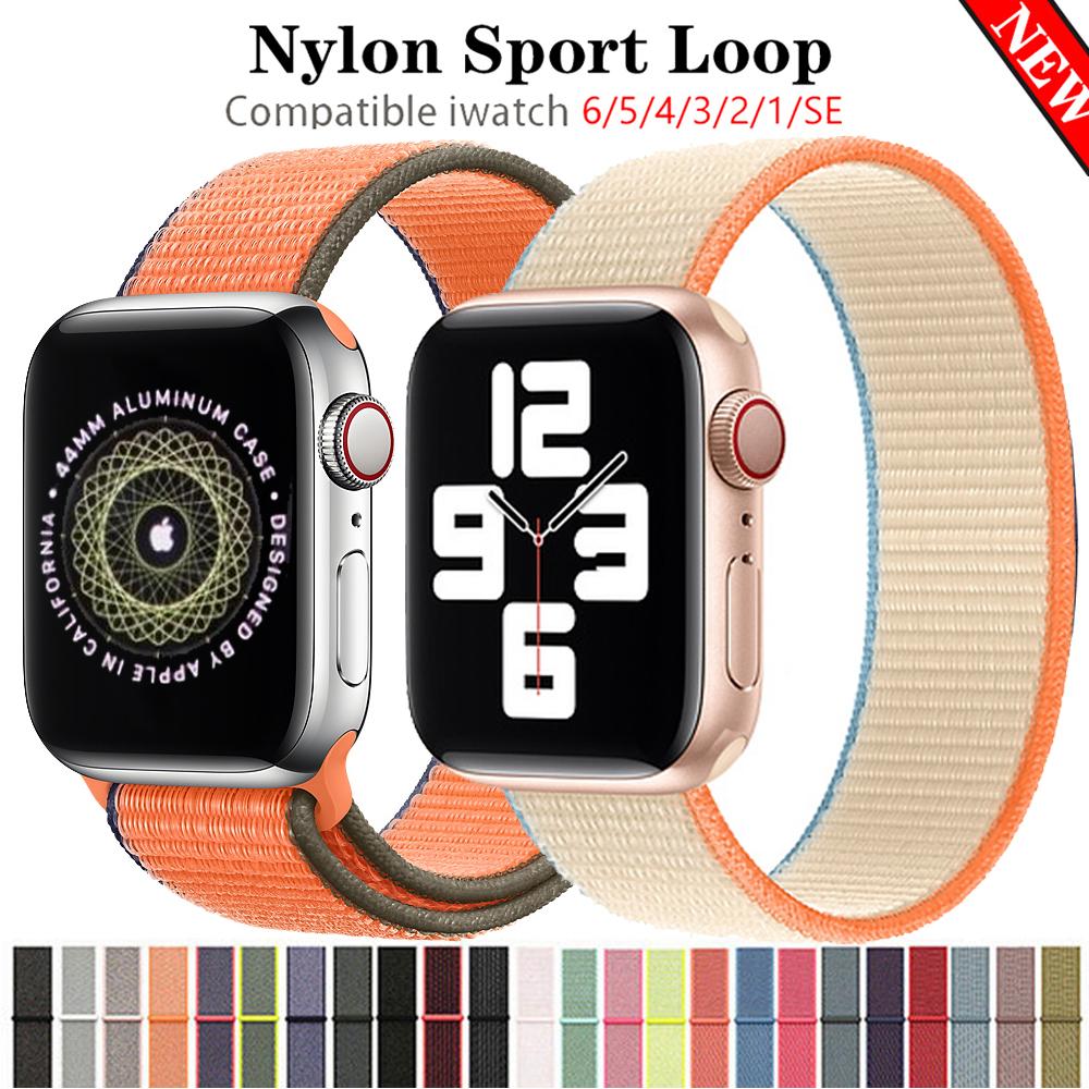 สายนาฬิกาข้อมือถักไนล่อน สําหรับ Apple Watch band 44/40/42/38 มม. iwatch series 3 4 5 SE 6