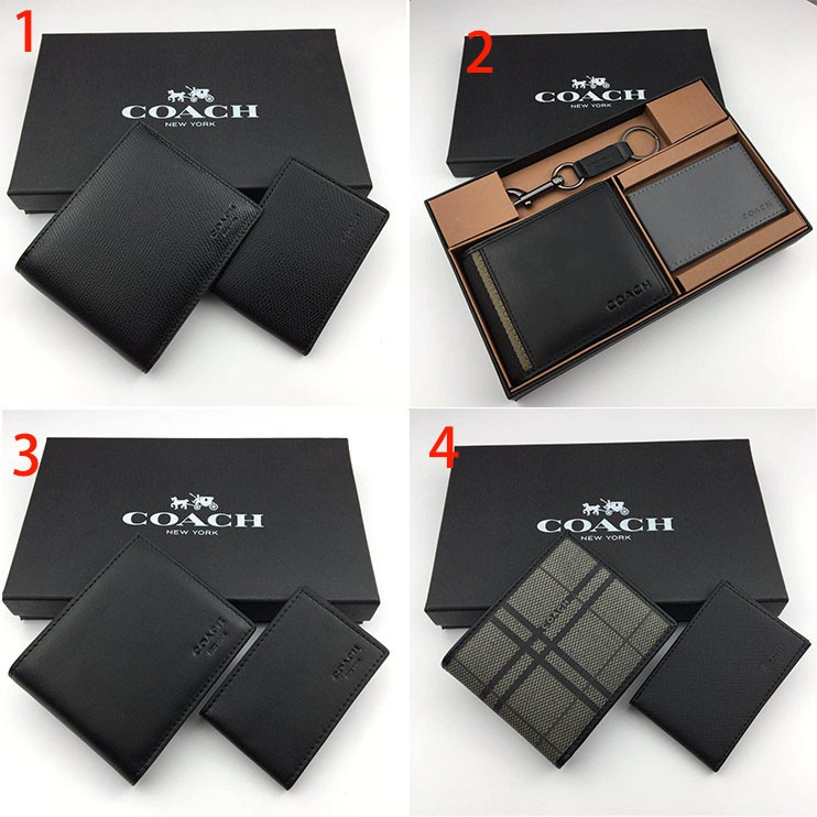 💯Coach 74699 : กระเป๋าสตางค์ผ้าหนังขนาดกะทัดรัดบุรุษกระเป๋า