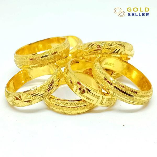Goldseller แหวนทอง ลายแม็ก น้ำหนักครึ่งสลึง คละลาย ทองคำแท้ 96.5%