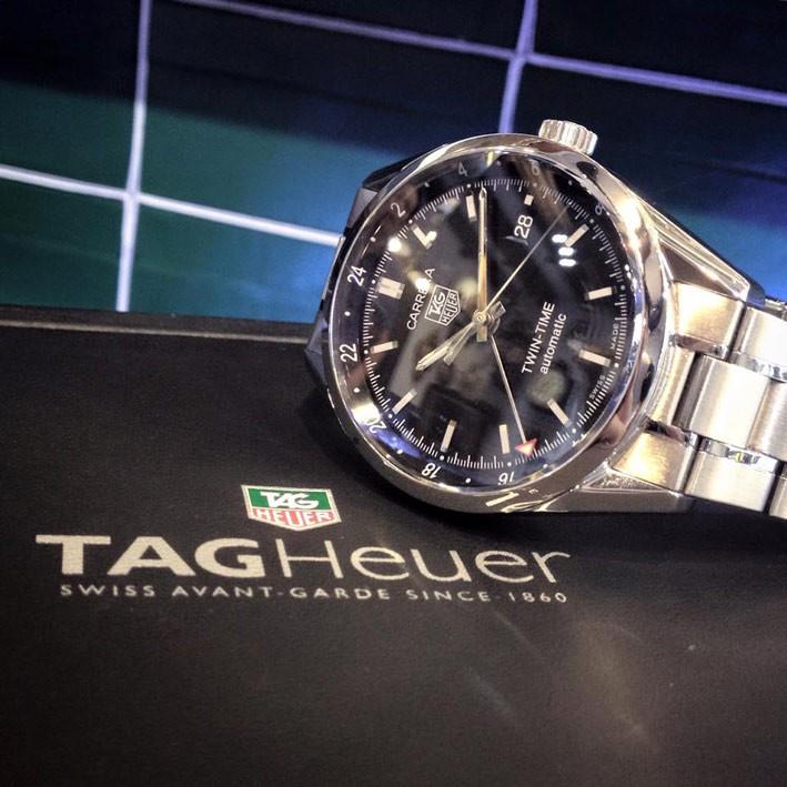 นาฬิกามือสอง ของแท้ TAG HEUER CARRERA twin-time auto date ขนาด 38mm
