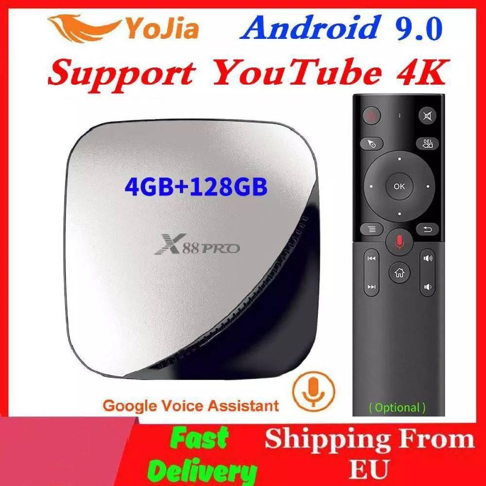 Android 9.0 TV Box 4GB RAM Max 128GB ROM 64GB RK3318 4Core 5G Dual Wifi 2G16G Set Top YouTube Smart 4K Media Player X88