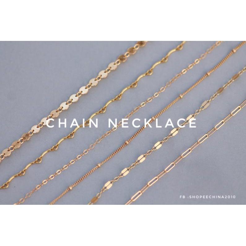 สร้อยคออิตาลี18K Gold สร้อยคอแฟชั่นพิงค์โกลด์gold 18K Chain Necklace rose gold18นิ้ว 20นิ้ว
