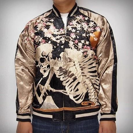 SUKAJAN แบรนด์แท้ญี่ปุ่น  Japanese Souvenir Jacket  แจ็คเกตซูกาจันลาย Sakura Skeleton