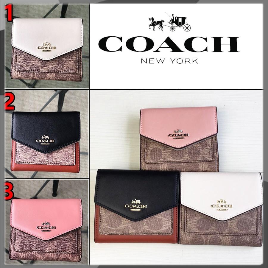 【HOT】Coach F31548 กระเป๋าสตางค์ผู้หญิง สตางค์ กระเป๋าเงินบัตร กระเป๋าสตางค์ใบสั้น พับเก็บได้ coach กระเป๋าสตางค์