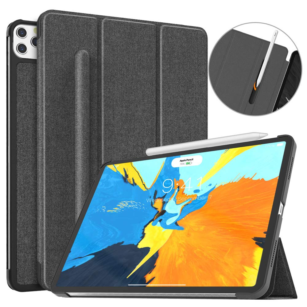 MoKo Case Fit iPad Pro 11 2020 w/ Elastic Pencil Holder - [Support Apple Pencil 2 Charging] Slim Lightweight Smart Shell Stand Cover with Auto Wake/Sleep