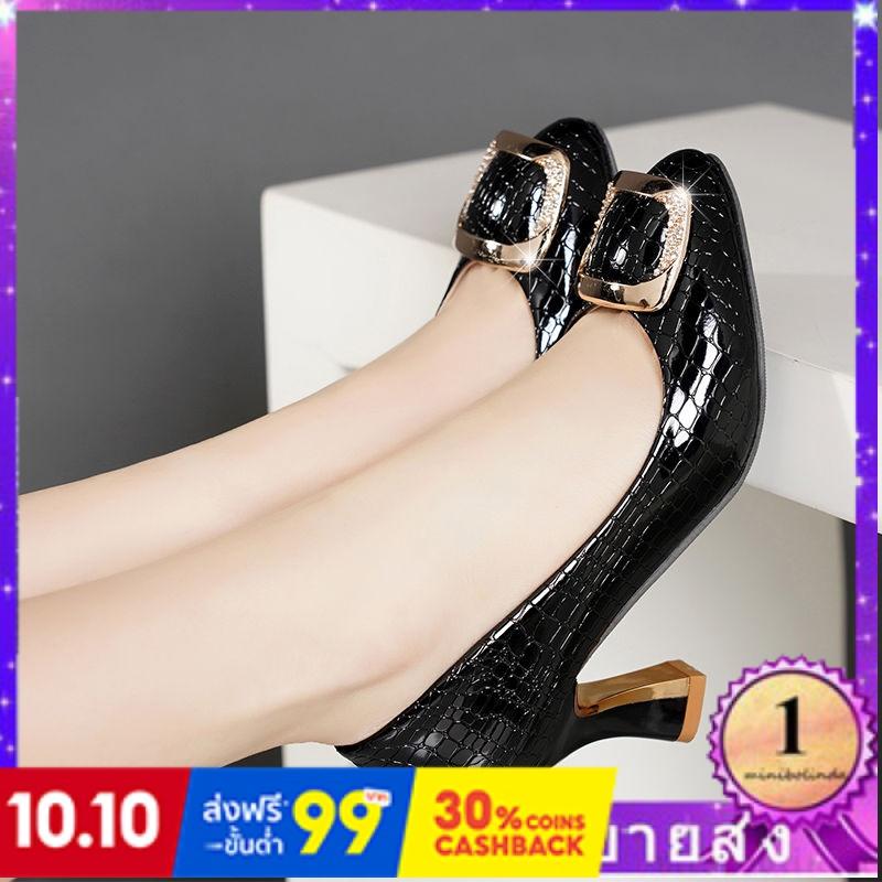 ⭐👠รองเท้าส้นสูง หัวแหลม ส้นเข็ม ใส่สบาย New Fshion รองเท้าคัชชูหัวแหลม  รองเท้าแฟชั่นรองเท้าส้นสูงสีดำหญิงใหม่ชี้รองเท้า