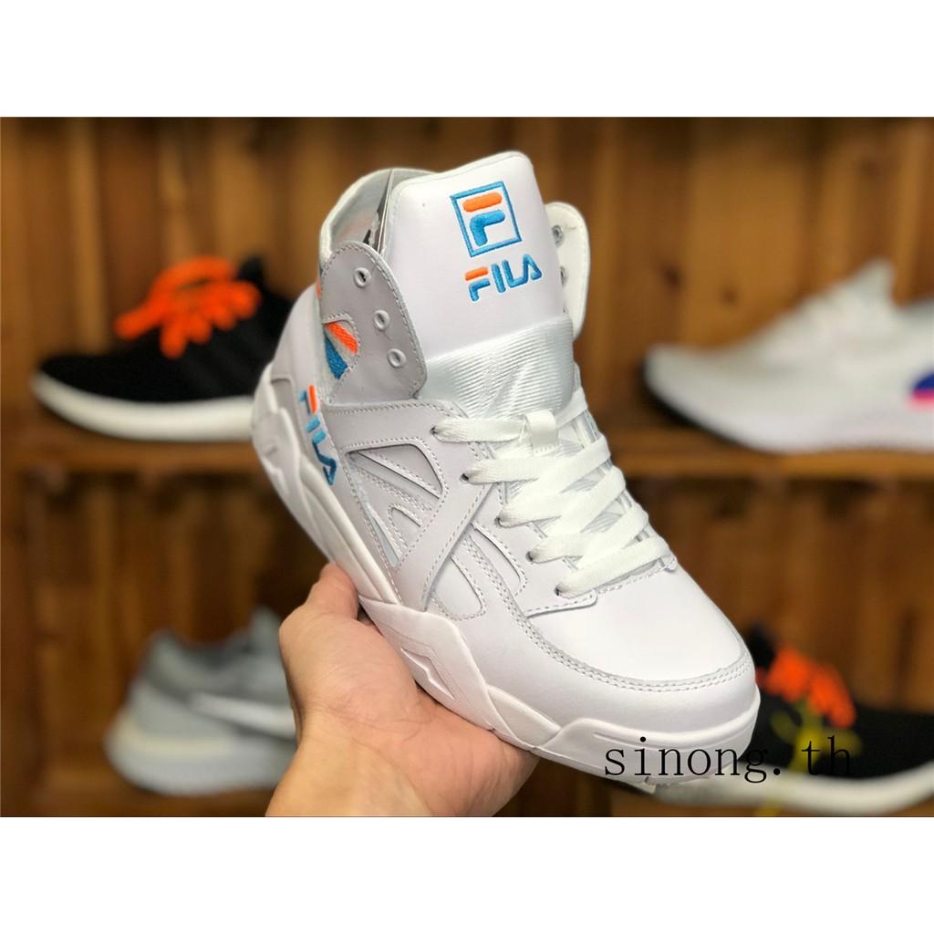TOP Fila Fila Cage tc ผู้ชายและผู้หญิงรองเท้ากีฬารองเท้าลำลองสูงสวมใส่รองเท้าวิ่ง FS1HTA1022 ขาว รองเท้าวิ่ง