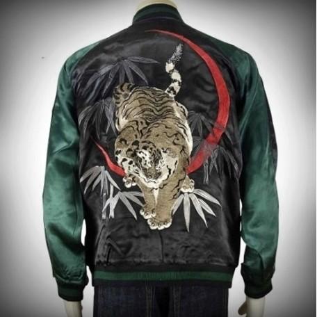 SUKAJAN แบรนด์แท้ญี่ปุ่น  Japanese Souvenir Jacket  แจ็คเกตซูกาจันลาย  Hitsuki Bamboo White Tiger
