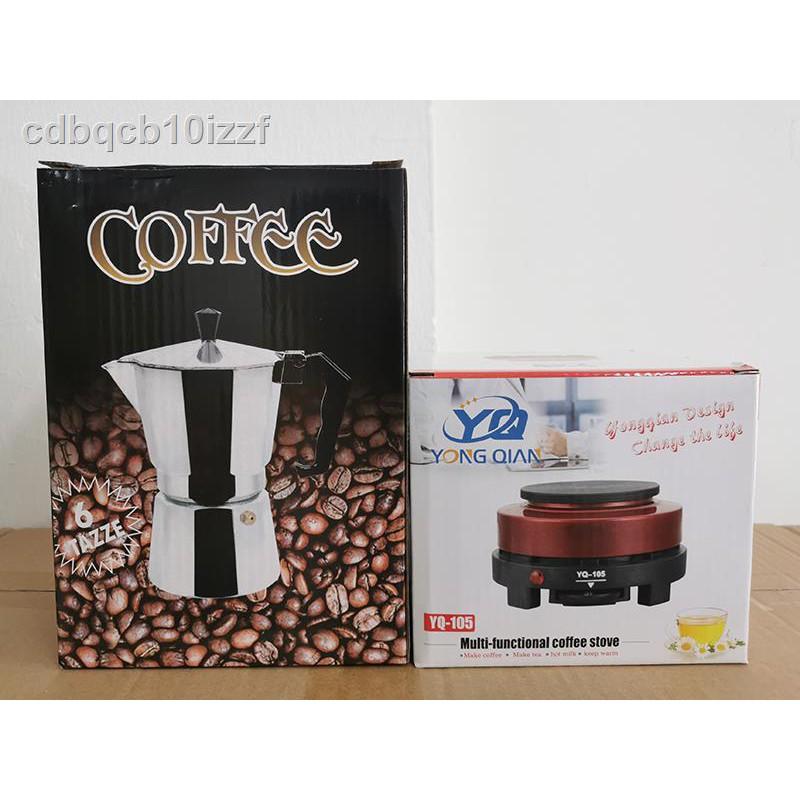 หม้อต้มกาแฟ ◕เครื่องทำกาแฟเครื่องทำกาต้มกาแฟสดสำหรับ 6 ถ้วย / 300 ml พร้อมเตาถ่านขนาดพกพาเตาถ่านเตาไฟฟ้า