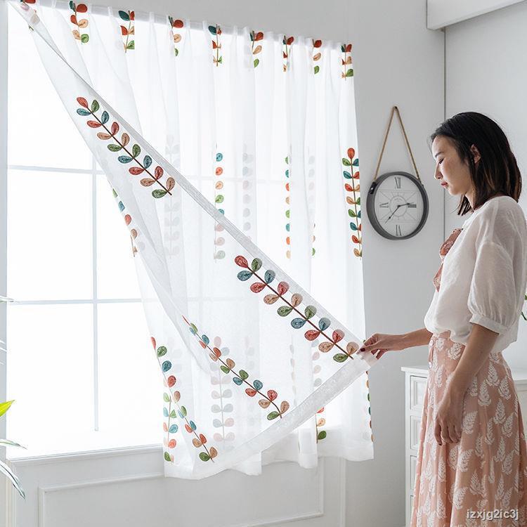 🍓ผ้าม่านสำเร็จรูปไม่มีรอยเจาะติดตั้งและวาง Velcro มุ้งลวดหน้าต่างเบย์ระเบียงหน้าต่างบานเล็กห้องเช่าม่านสั้น