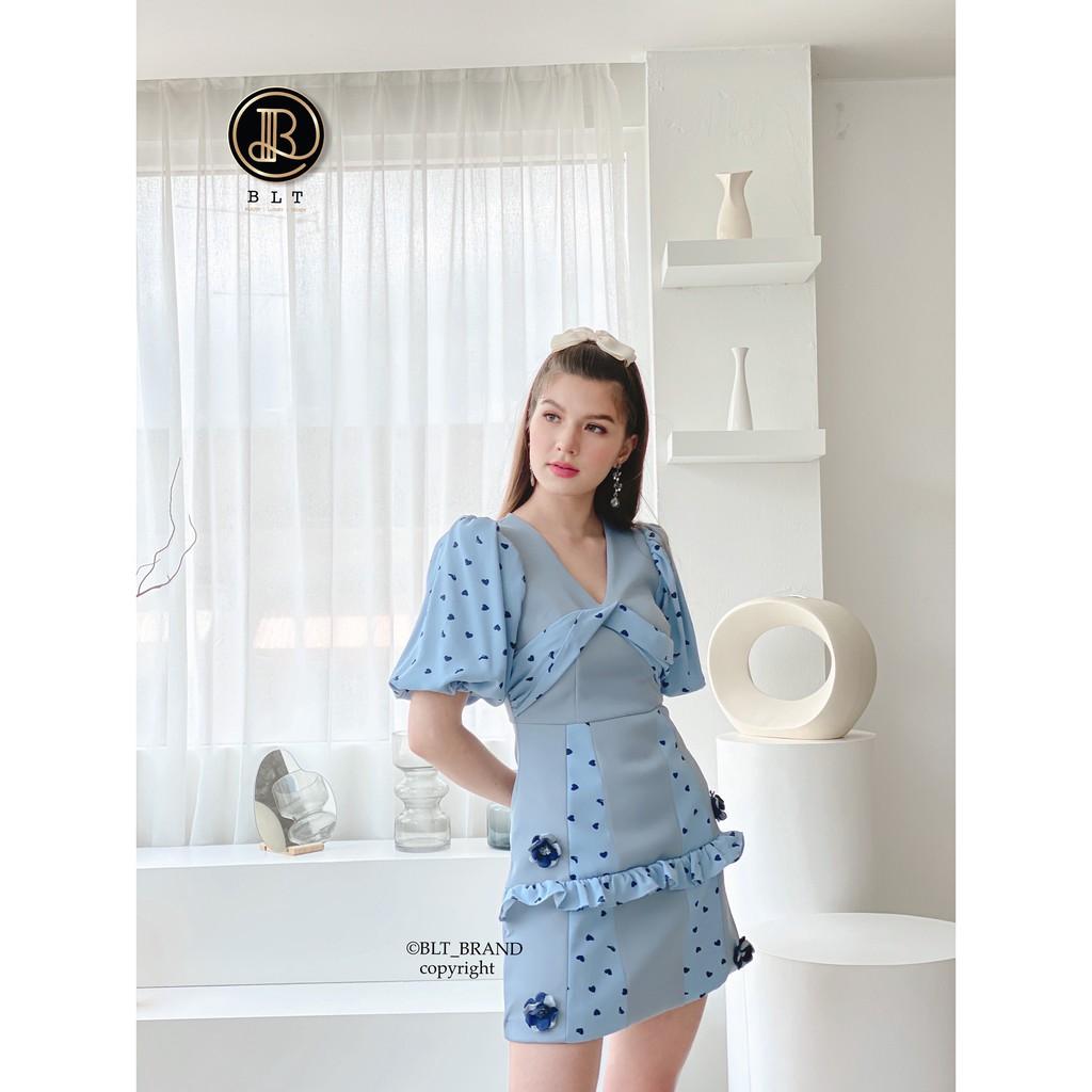 BLT BRAND เสื้อผ้าแบรนด์แท้ มินิเดรส ชุดสีฟ้าลายจุดดำ สวยมากก เหลือ Size Xs ชุดเดียว