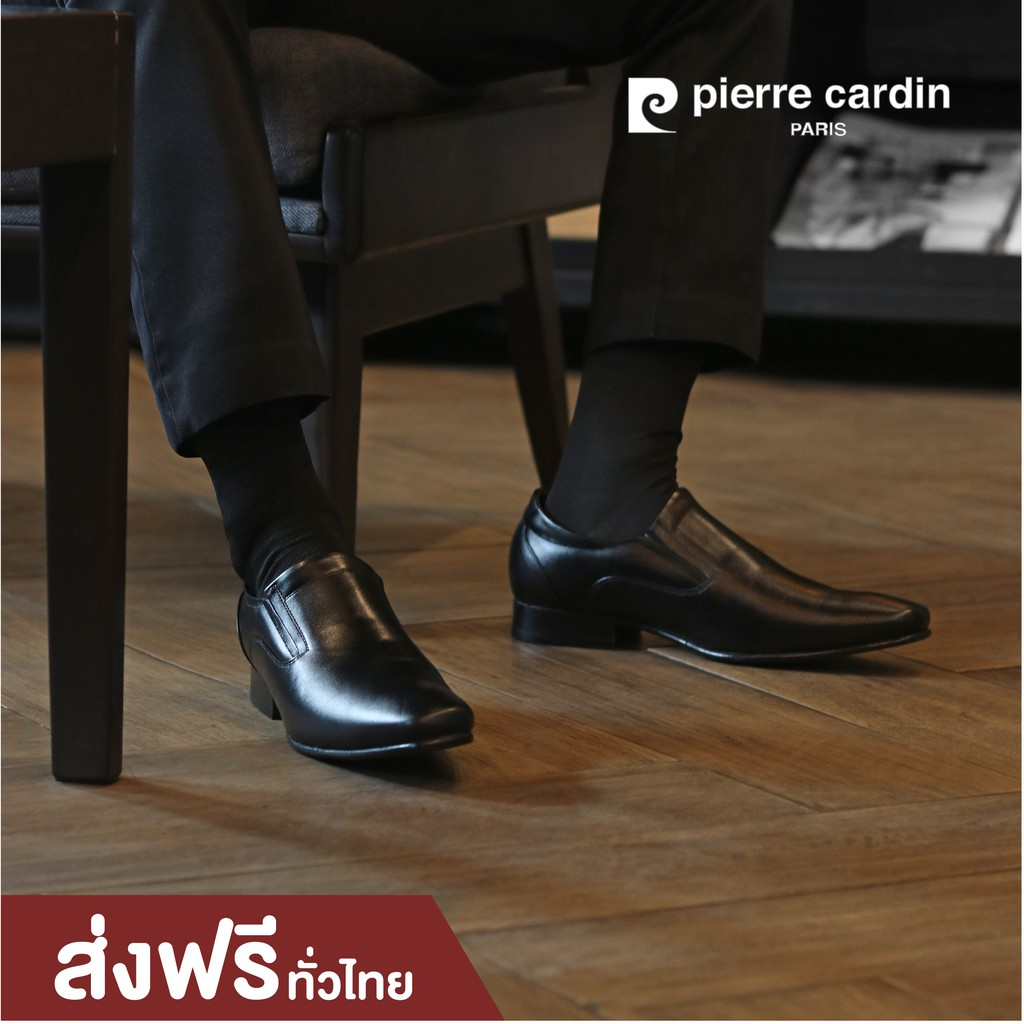 รองเท้าแฟชั่น pierre cardin shoes  ปิแอร์ การ์แดง รุ่น 80TD118 COLOR BLACK  รองเท้าคัชชูผู้ชาย หนังแท้