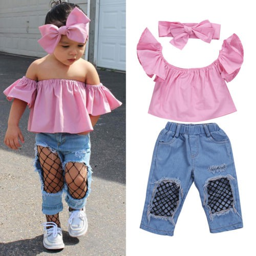 Girls Kids Off Shoulder Ruffled Top Solid Casual Blouse Long Jeans Pants 2PCS Outfits Set
