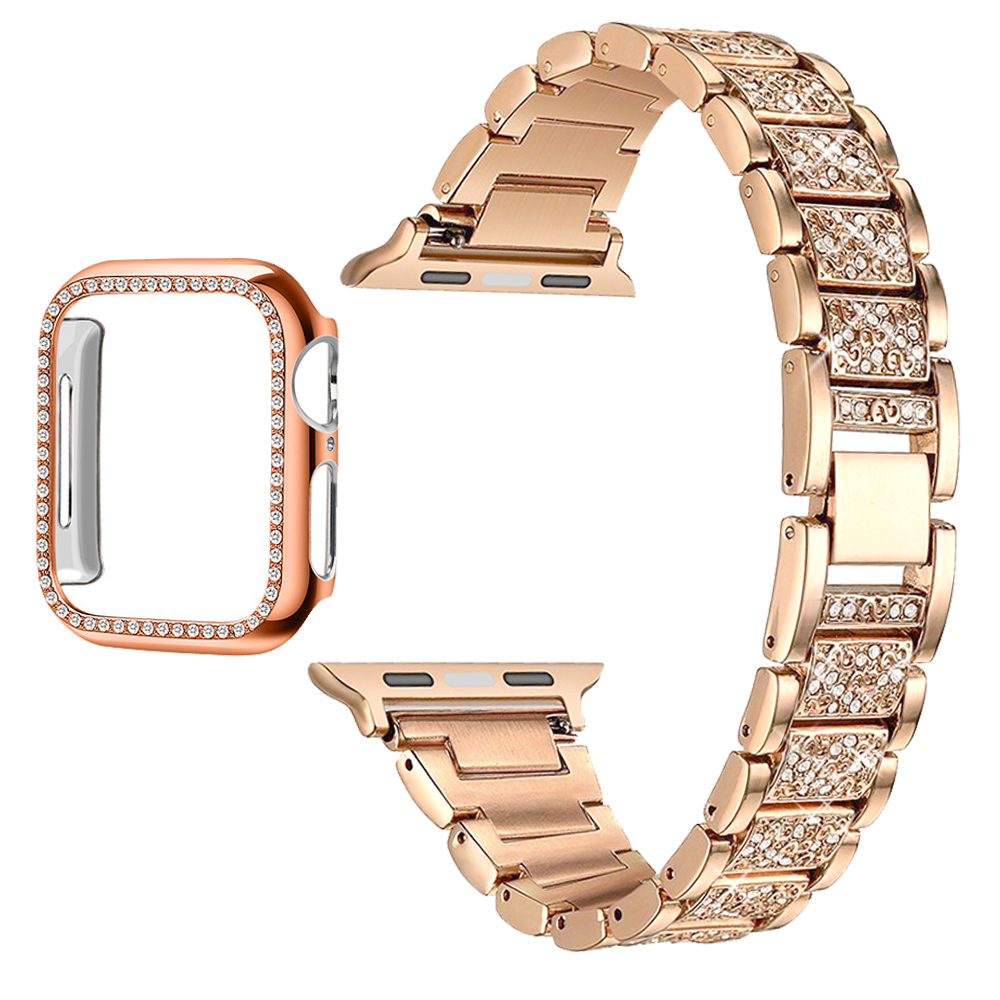 Applewatch Series 6 5 4 3 2 1 SE สายนาฬิกา with กรณี Stainless Steel Diamond Watch Band Strap with Cover Case สาย iwatch