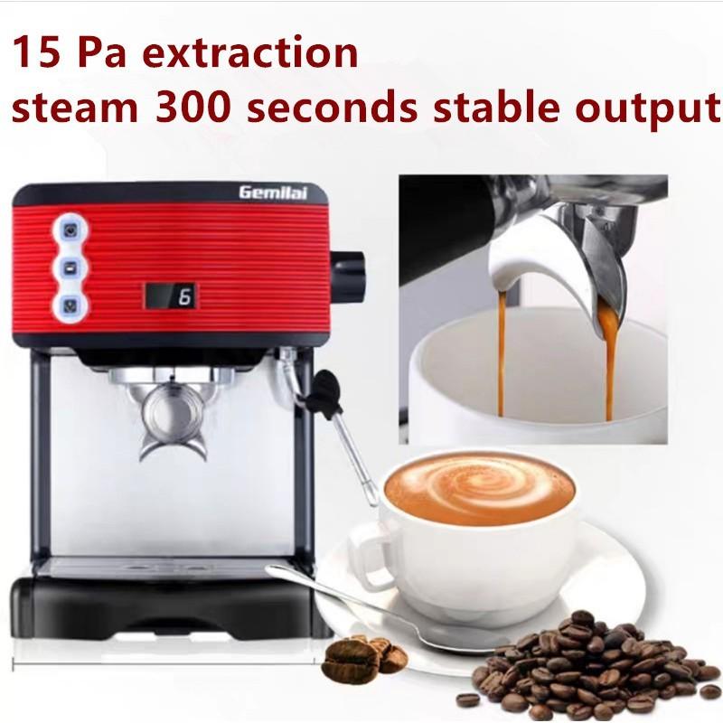 เครื่องชงกาแฟเอสเปรสโซในครัวเรือนขนาดเล็กกึ่งอัตโนมัติปั๊มบดสดแรงดันเครื่องทำฟองนมเข้มข้นในตัว