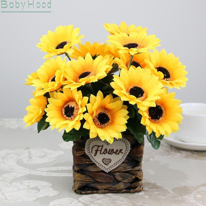 1PC Sunflowers Long Stem Wedding Bouquet Silk Centerpieces Flowers Decoration