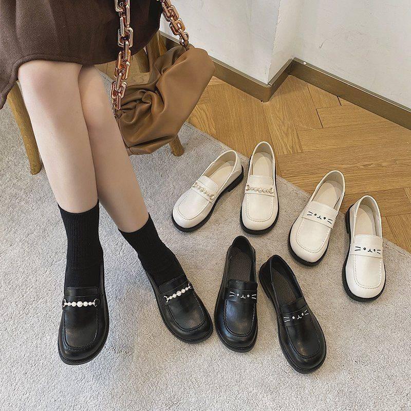 รองเท้าผู้หญิง ร้องเท้า รองเท้าคัชชู ❆รองเท้าหนังขนาดเล็กหญิงอังกฤษย้อนยุคกระโปรง 2021 ใหม่วิทยาลัยลมสีดำหนึ่งเท้าแบนลอร