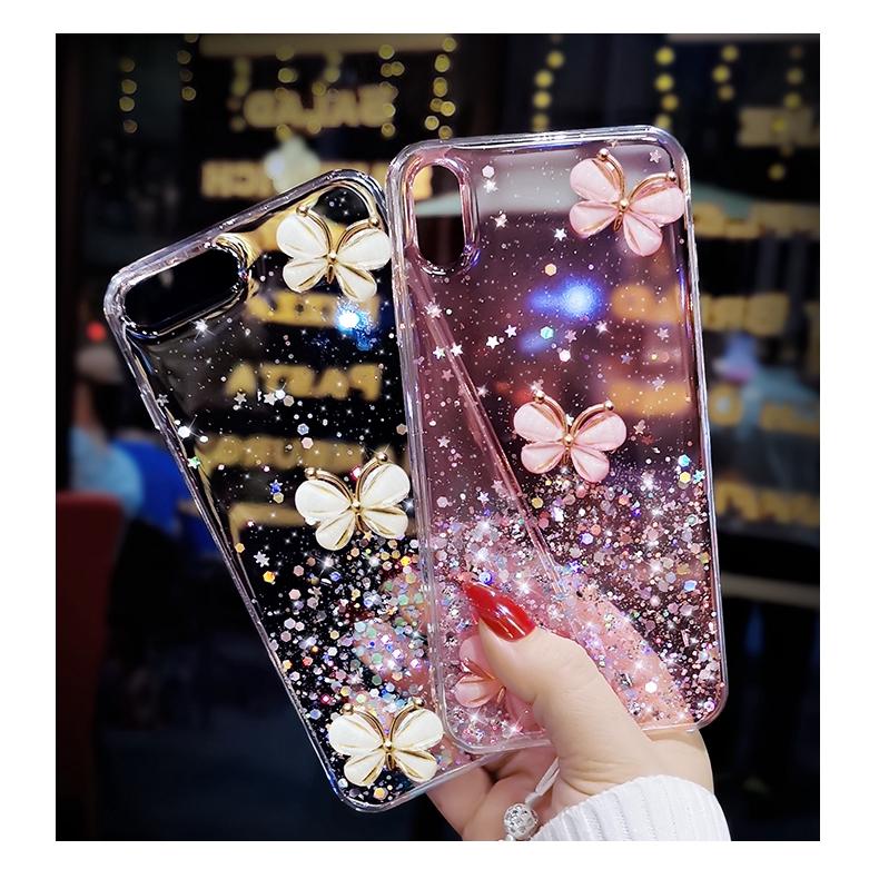 Sequin Glitter Star Silver Foil Butterfly Transparent Soft Case Samsung A7 2018 A750 A8 Plus 2018 A6 A6 Plus A9 2018 A9 Star Pro A9S A2 Core J8 2018 J6 Plus J4 Plus