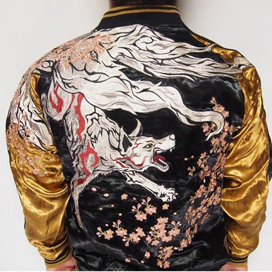 SUKAJAN พรีเมียมเกรด Japanese Souvenir Jacket  แจ็คเกตซูกาจันลายจิ้งจอกเก้าหาง