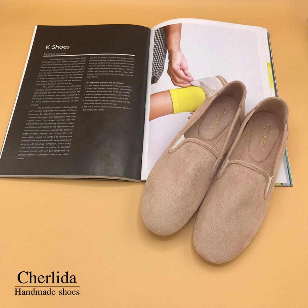 Cherlida รองเท้าคัชชูผู้หญิง หนังกลับ Microfiber สุดหรู นิ่ม มีซับใน ไม่กัดส้น รองเท้าผู้หญิง รองเท้าคัชชู คัชชูผู้หญิง1